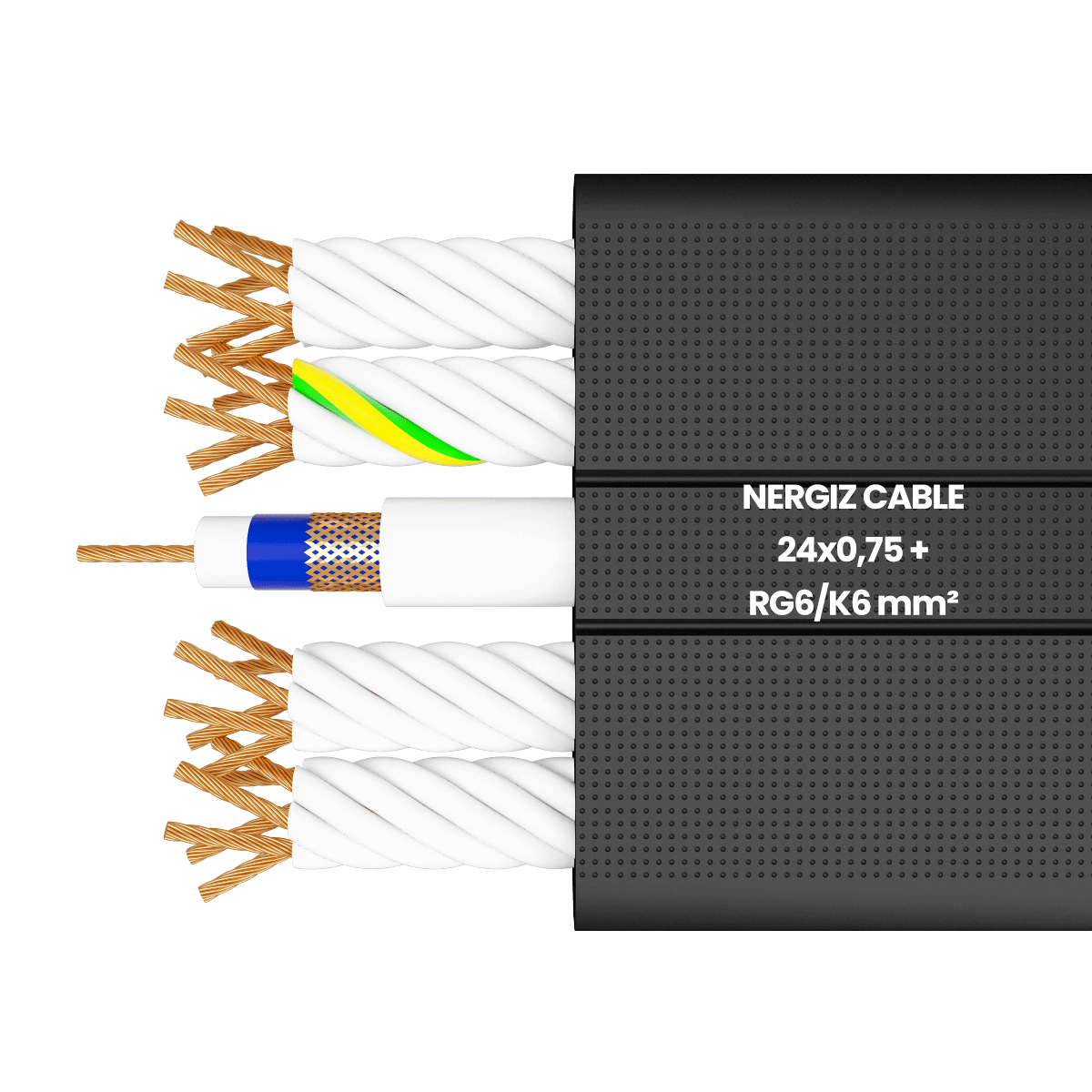 H05VVH6-F 24x0.75 + RG6 mm² Flat Coaxial Elevator Cable