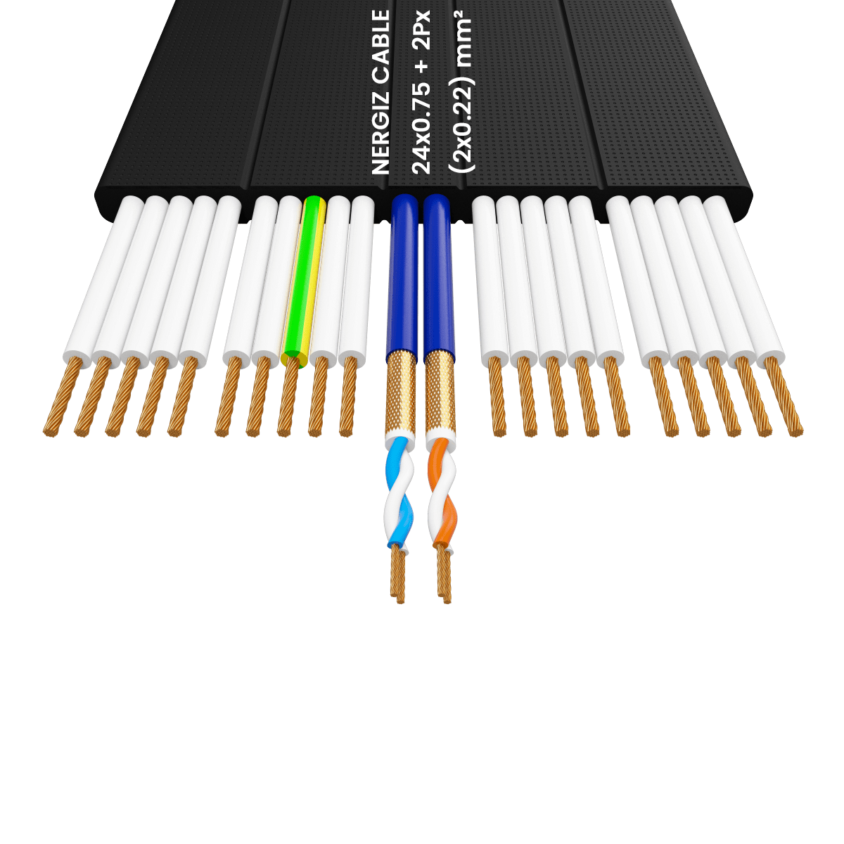 24x0.75 +2Px(2x0.22) mm² H05VVH6-F Foiled Elevator Cable